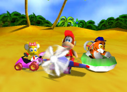 Diddy Kong Racing characters; Pipsy, Diddy and Timber